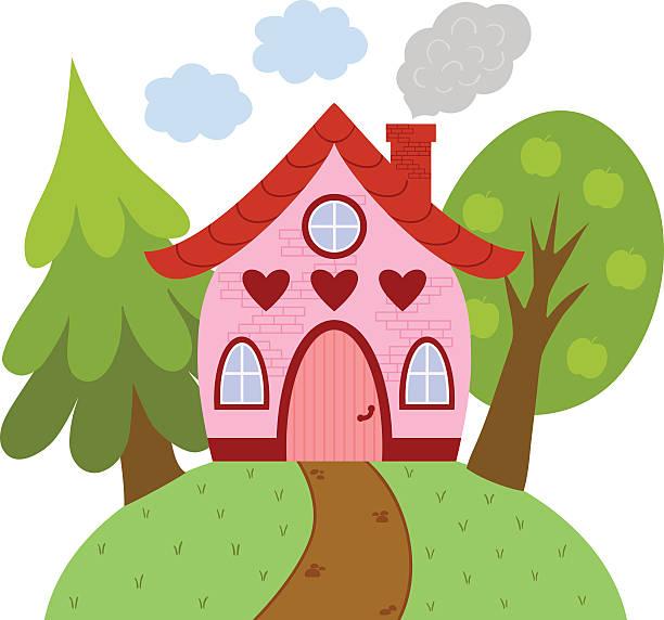 Cute little house on the hill. Vector illustration. dollhouse stock illustrations
