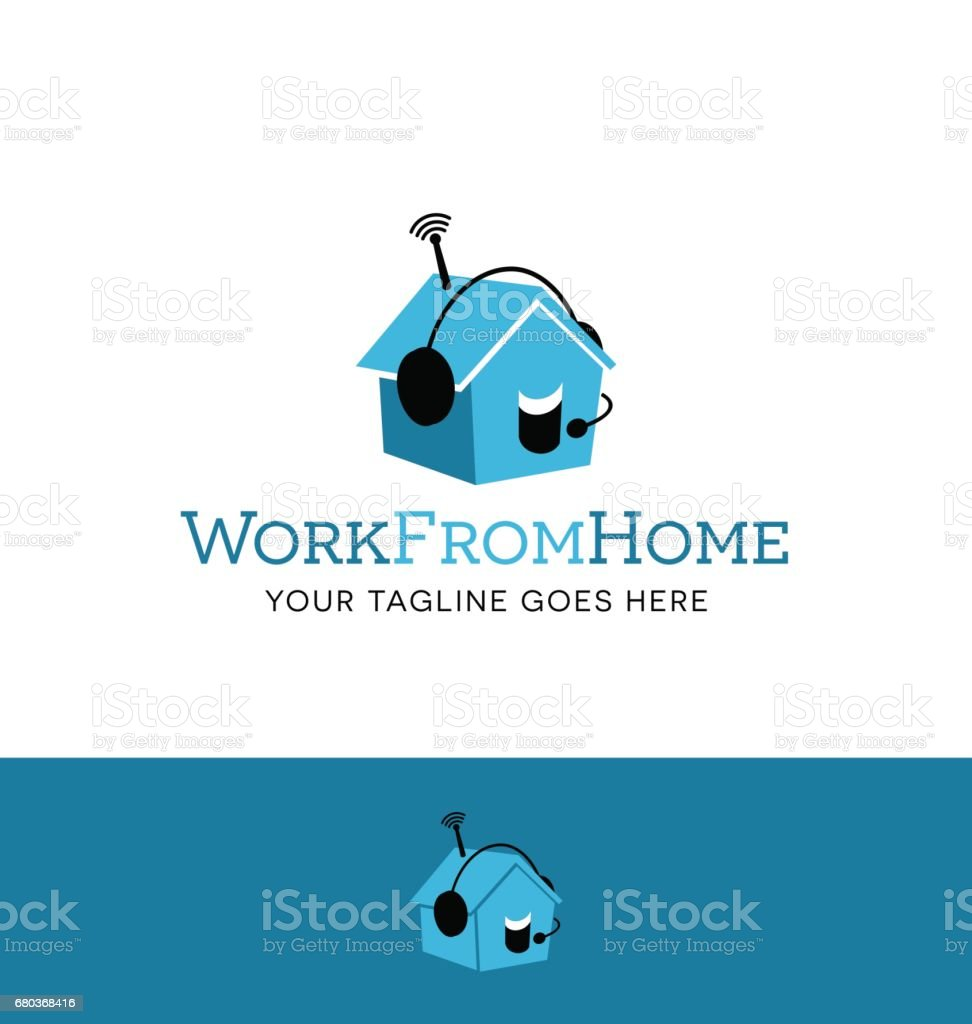 cute little house wearing a headset. symbol meaning work from home, telecommuting. vector art illustration