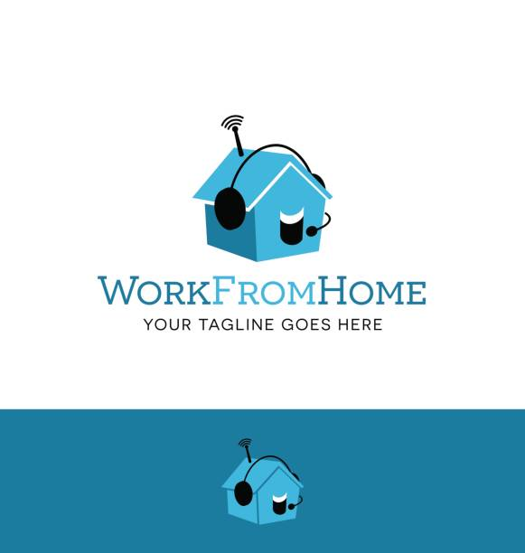 cute little house wearing a headset. symbol meaning work from home, telecommuting. - telecommuting stock illustrations, clip art, cartoons, & icons
