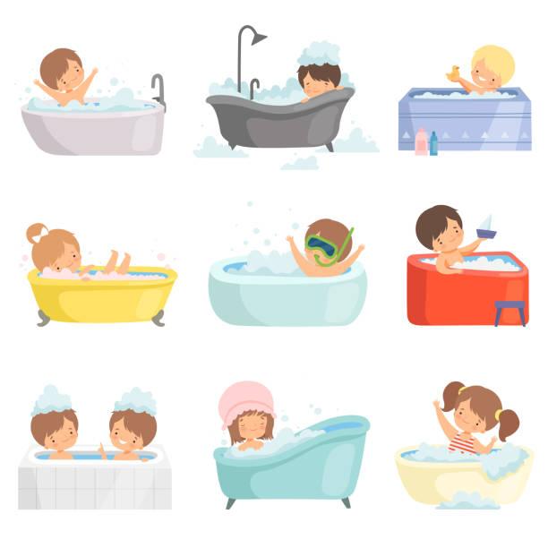 bildbanksillustrationer, clip art samt tecknat material och ikoner med söta små barn bada och ha kul i badkaret set, bedårande pojkar och flickor i bad rums, daglig hygien vektor illustration - baby bathtub
