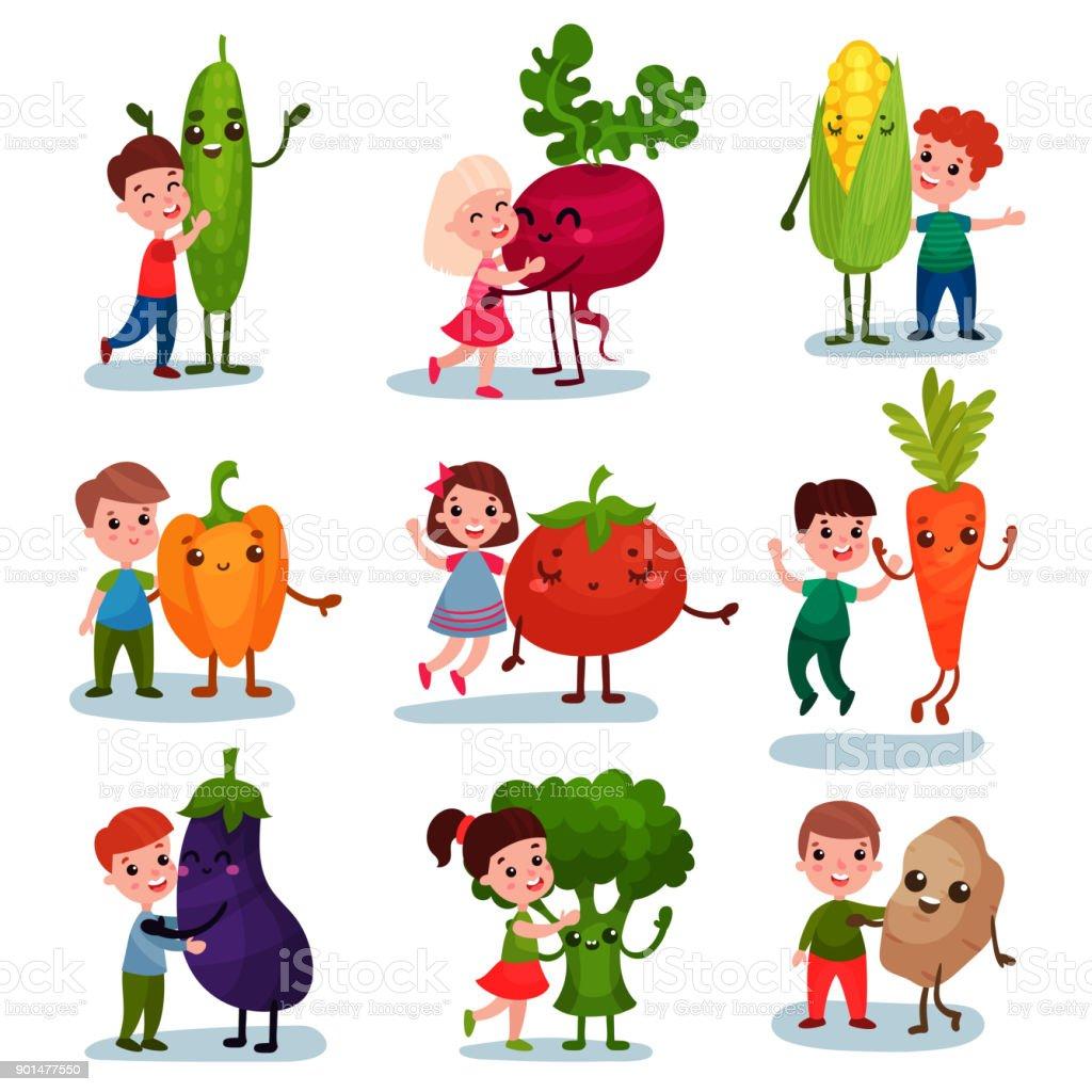 Ilustración De Lindos Niños Pequeños Divirtiéndose Y Abrazos