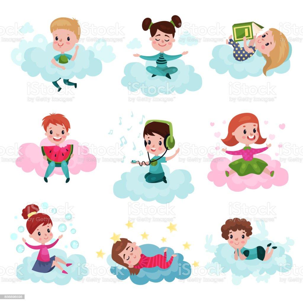 かわいい子供の演奏とカラフルなベクトル イラストの雲セットに座って夢