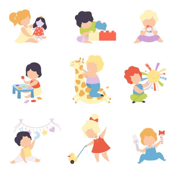 süße kleine kinder spielen mit spielzeug set, kleinkind jungen und mädchen spielen mit puppe, blöcke, gefüllte spielzeug, sortierer, rassel vektor illustration - toddler stock-grafiken, -clipart, -cartoons und -symbole