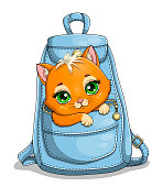 Cute little ginger kitten with large green eyes in the pocket of a blue bag over white, colored cartoon vector illustration
