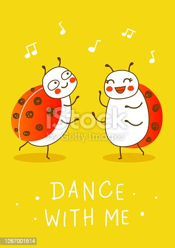 istock Cute little ladybugs dancing on yellow background with musical notes - cartoon characters for funny greeting card and poster design 1267001514