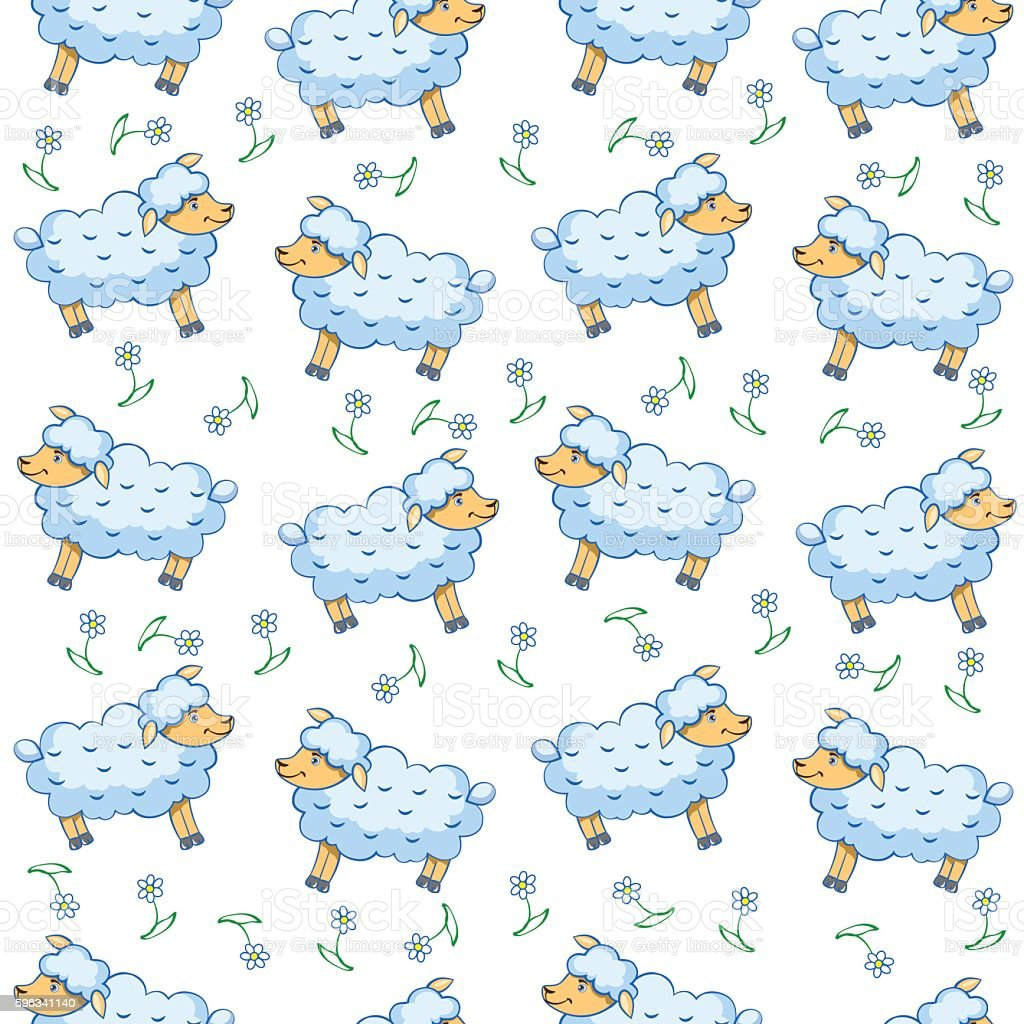 Cute little lamb cartoon sheep, vector seamless pattern royalty-free cute little lamb cartoon sheep vector seamless pattern stock vector art & more images of agriculture