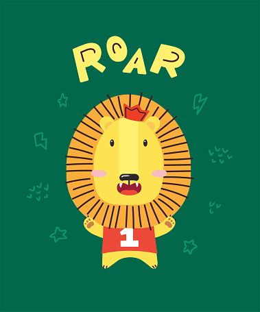 Cute little lion smiling. Crown and number one. ROAR. Animal kingdom set. Super-kawaii and adorable animals. Cartoon character and lettering. Flat illustration for kid's poster, t-shirt and other art.