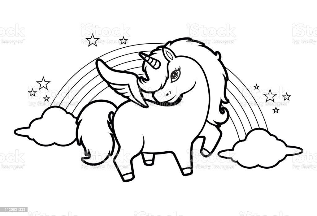 Ilustración De Lindo Poco Mágico Unicornio Arcoiris Y