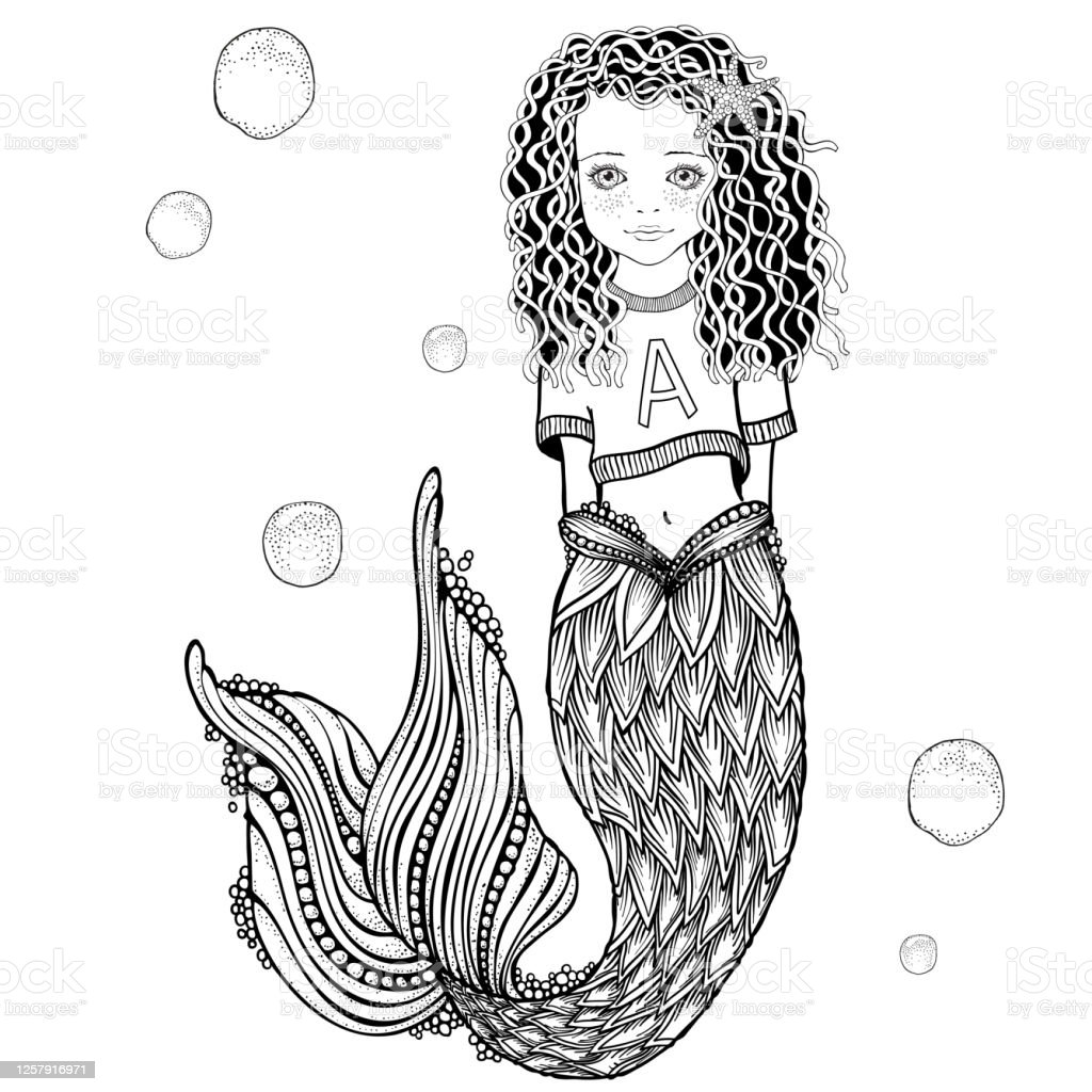 Cute Little Mermaid Girl Coloring Book Page For Adult And Children