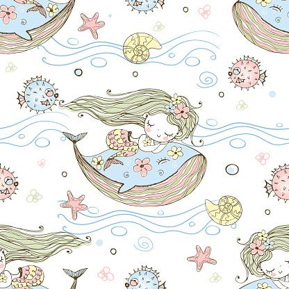 Cute little mermaid sleeping on a whale. Vector