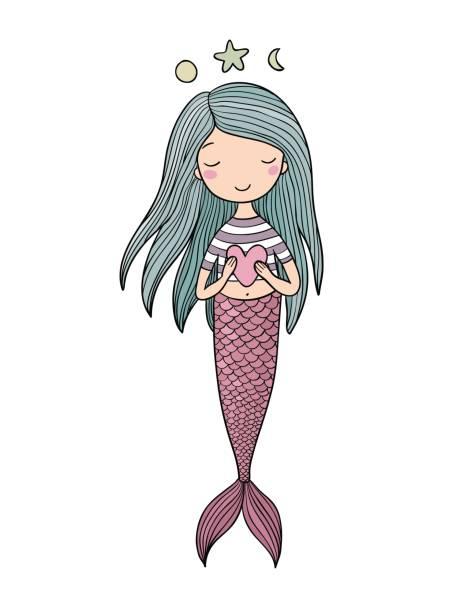 illustrations, cliparts, dessins animés et icônes de mignonne petite sirène avec cœur. sirène. thème de la mer. illustration vectorielle - tatouages de sirène