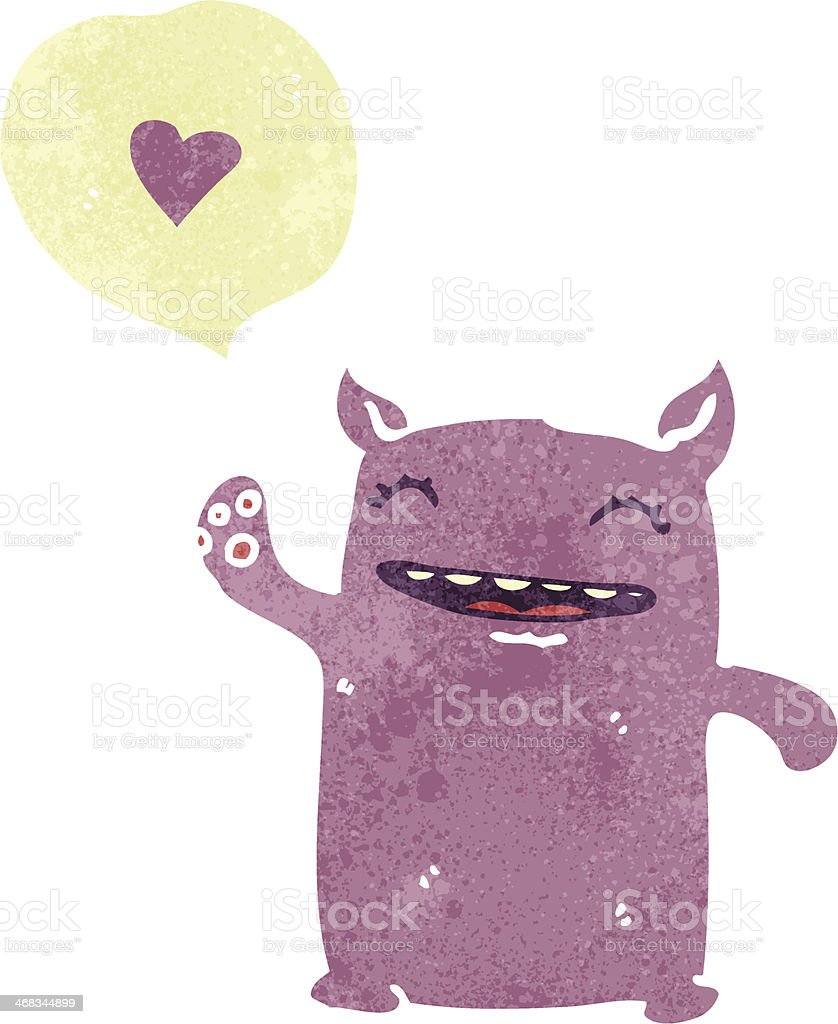 cute little  monster retro cartoon royalty-free cute little monster retro cartoon stock vector art & more images of animal