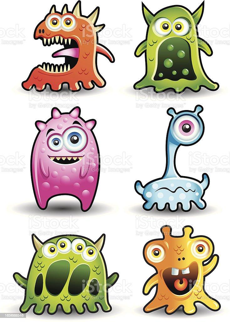 Cute Little monsters or Aliens vector art illustration