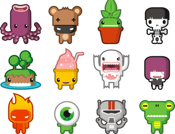 cute little monsters - cartoon monsters stock illustrations, clip art, cartoons, & icons