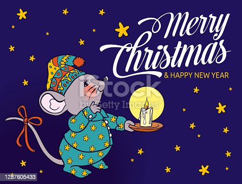 istock Cute Little Mouse Wishing Happy Christmas With Lettering Text 1287605433