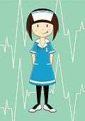 Vector illustration of a cute Nurse character on medical background.
