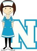 Cute Little Nurse Alphabet Learning Letter N.