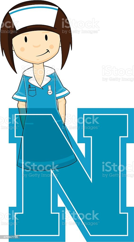 Cute Little Nurse Learning Letter N royalty-free cute little nurse learning letter n stock vector art & more images of adult