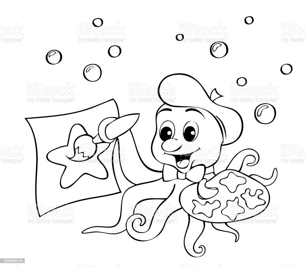 Deniz Yıldızı çizim Bir Palet şirin Küçük Ahtapot Boyama Kitabı Için