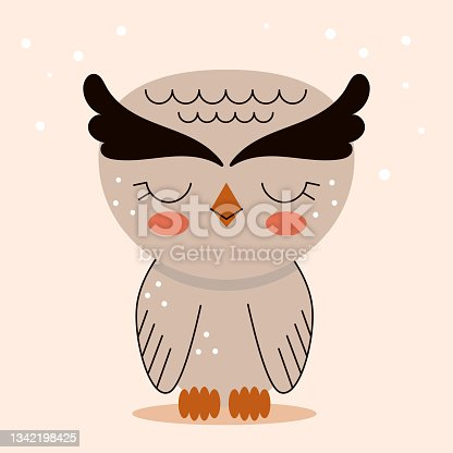 istock Cute little owl in cartoon flat style. Forest animals and wild birds. Vector illustration for nursery, print on textiles. 1342198425