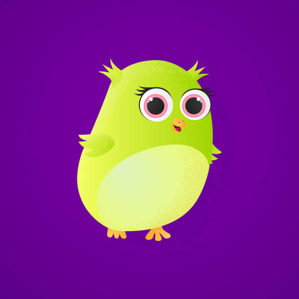 Cute little owl with decorative shaddow – artystyczna grafika wektorowa