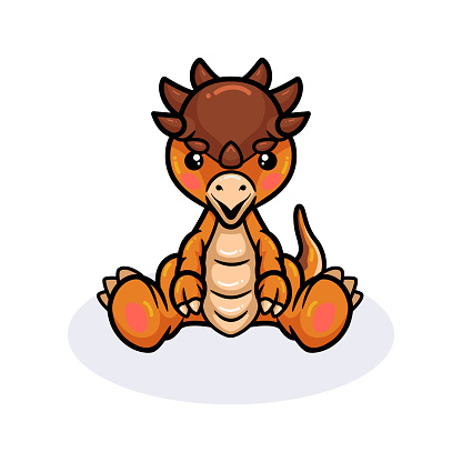 Cute little pachycephalosaurus dinosaur cartoon sitting