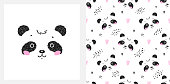 Cute Little Panda Bear with Hearts Vector Seamless Childish Pattern and T-shirt Print Design with Black and White Chinese or Bamboo Bear. Scandinavian Poster for Kids