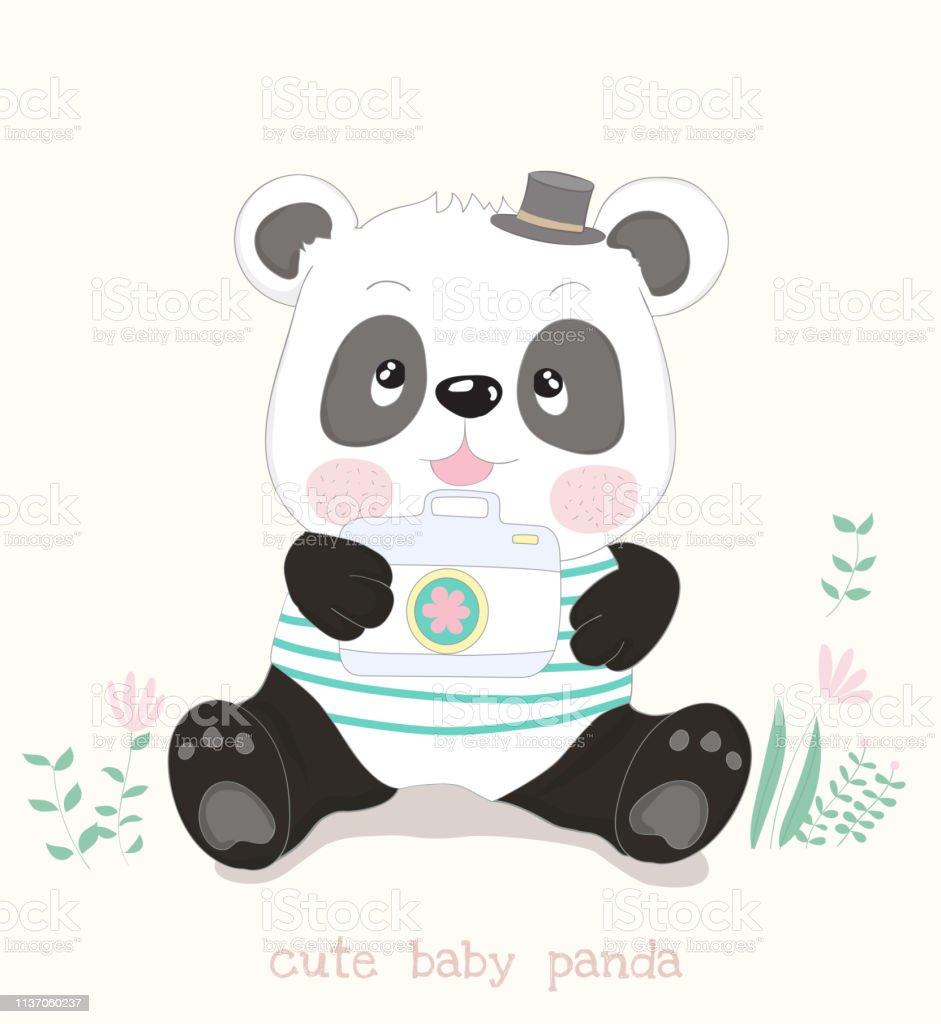 Dessin Animé Mignon De Petit Panda Avec Lappareilphoto Style