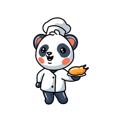 Cute little panda chef cartoon