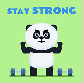 Cute little panda doing sports and showing his strong muscles