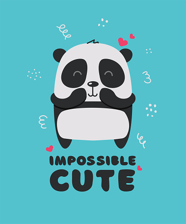 Cute little panda smiling. Text Impossible cute. Animal kingdom set. Super-kawaii and adorable animals. Cartoon character and lettering. Flat illustration for kid's poster, t-shirt and other art.