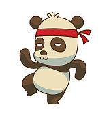 Vector cartoon image of a cute little black-white panda standing in a kung fu pose and smiling on a white background. Animals, wildlife, zoo. Positive character. Color image.