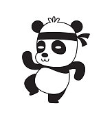 Vector cartoon image of a cute little black-white panda standing in a kung fu pose and smiling on a white background. Animals, wildlife, zoo. Positive character. Vector illustration.