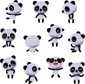 Set of eleven cute little Pandas, staying with different emotional conditions. EPS 10, RGB.