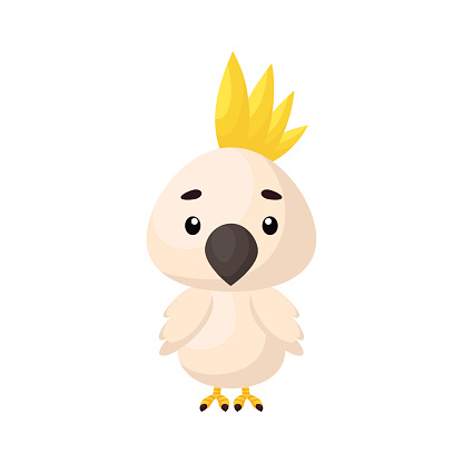 Cute little parrot on white background. Cartoon animal character for kids cards, baby shower, birthday invitation, house interior. Bright colored childish vector illustration in cartoon style.
