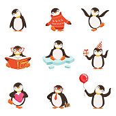 istock Cute little penguin cartoon characters set for label design. Colorful detailed vector Illustrations 676103470