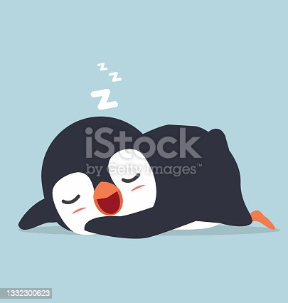 istock Cute little penguin sleep doodle cartoon 1332300623