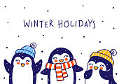 istock Cute little penguins isolated on white background - cartoon characters for funny Christmas and New Year holidays greeting card and poster design 1284622457