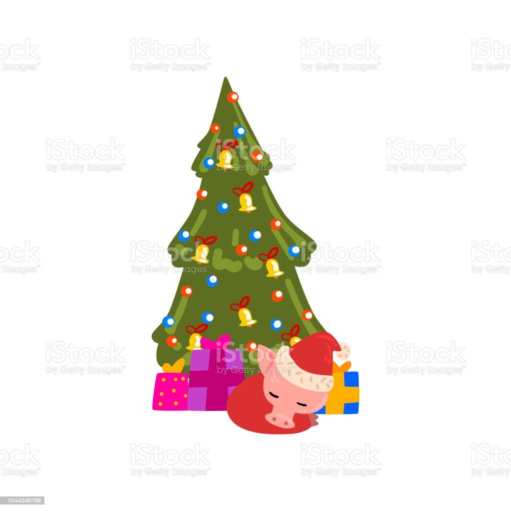 Cute Little Pig Character Sleeping Under Christmas Tree In Santa