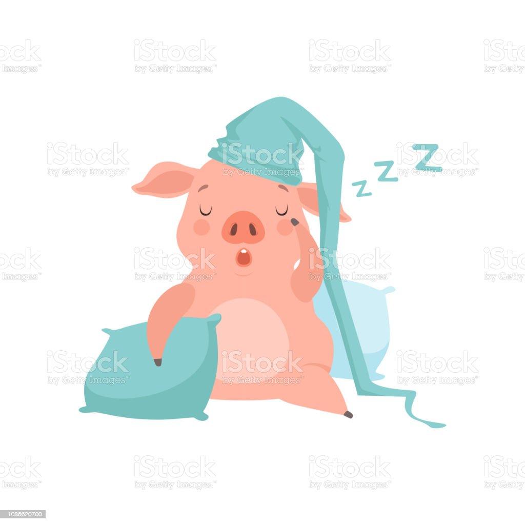 Mignon petit cochon en lumière bleu bonnet de nuit dormir sur des oreillers, vecteur de personnage dessin animé drôle Porcinet Illustration sur fond blanc - Illustration vectorielle