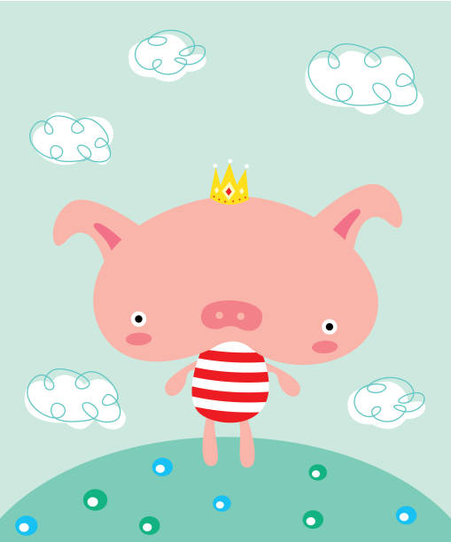 Cute Little Pig Prince Graphic Vector Wallpaper Stock Art More Images Of 2019 1060360168