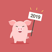 Cute little pig with sign 2019, Chinese New Year. The year of the pig, Cartoon vector illustration.