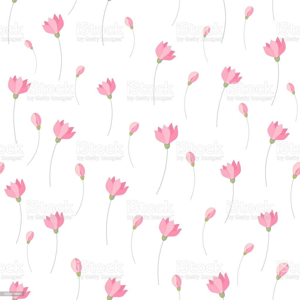 Cute Little Pink Flowers Seamless Pattern Background Vector Stock