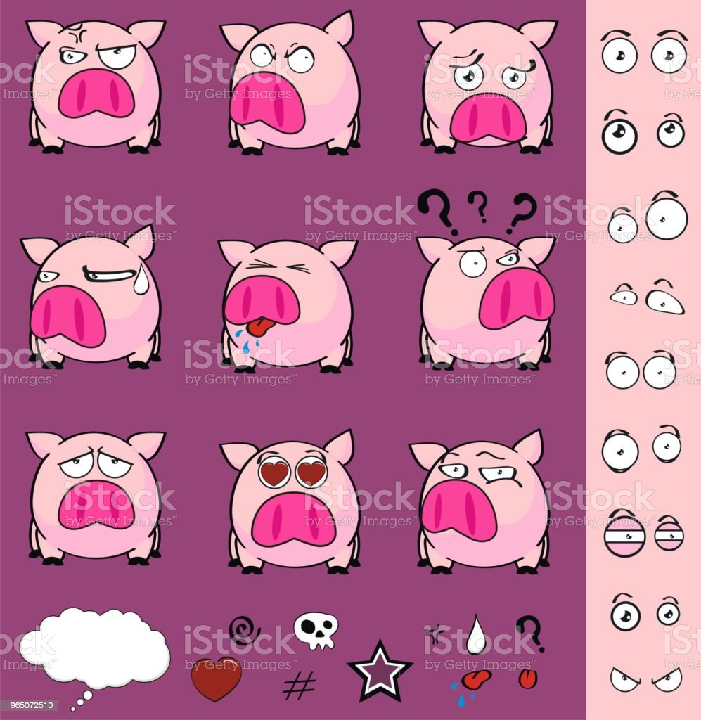 cute little pink pig ball expressions set cute little pink pig ball expressions set - stockowe grafiki wektorowe i więcej obrazów ameryka Łacińska royalty-free