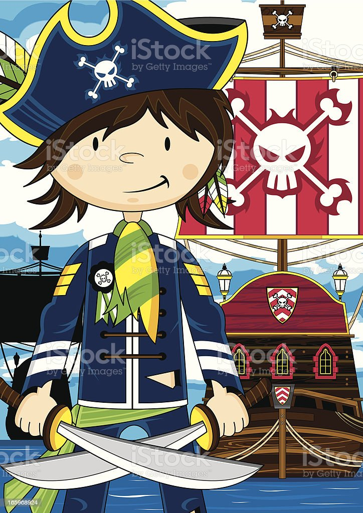 Cute Little Pirate Captain with Ship royalty-free stock vector art