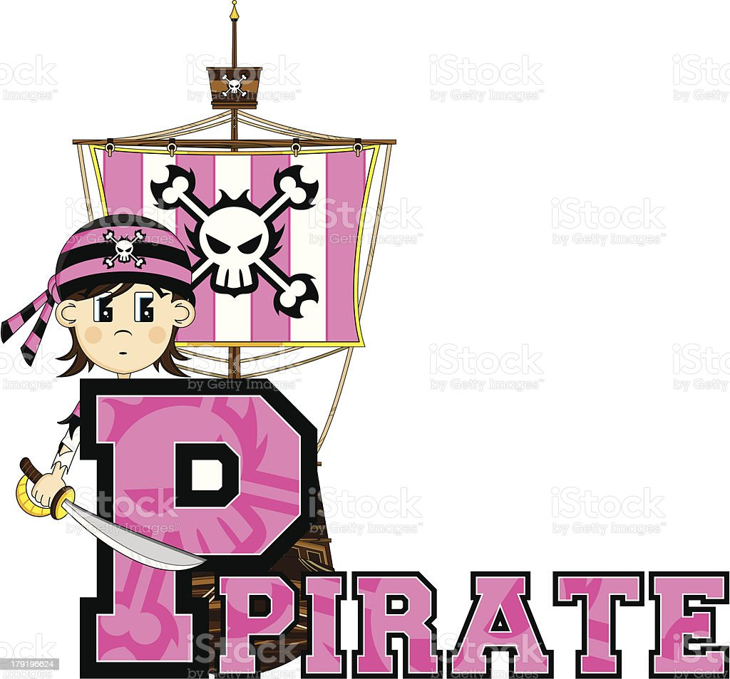Cute Little Pirate Letter P royalty-free cute little pirate letter p stock vector art & more images of alphabet