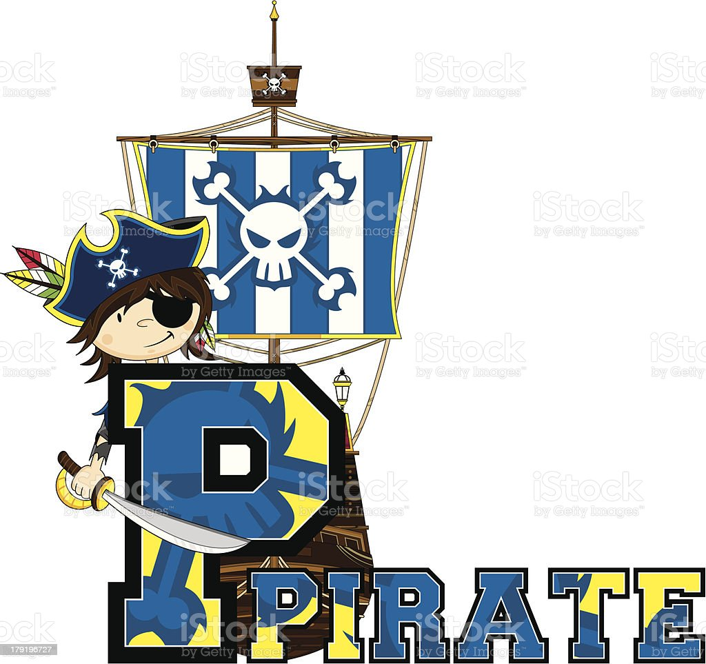 Cute Little Pirates Letter P royalty-free stock vector art