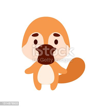 istock Cute little platypus on white background. Cartoon animal character for kids cards, baby shower, birthday invitation, house interior. Bright colored childish vector illustration. 1314878503