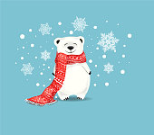 Cute little polar bear with red scarf on blue background with snowflakes.