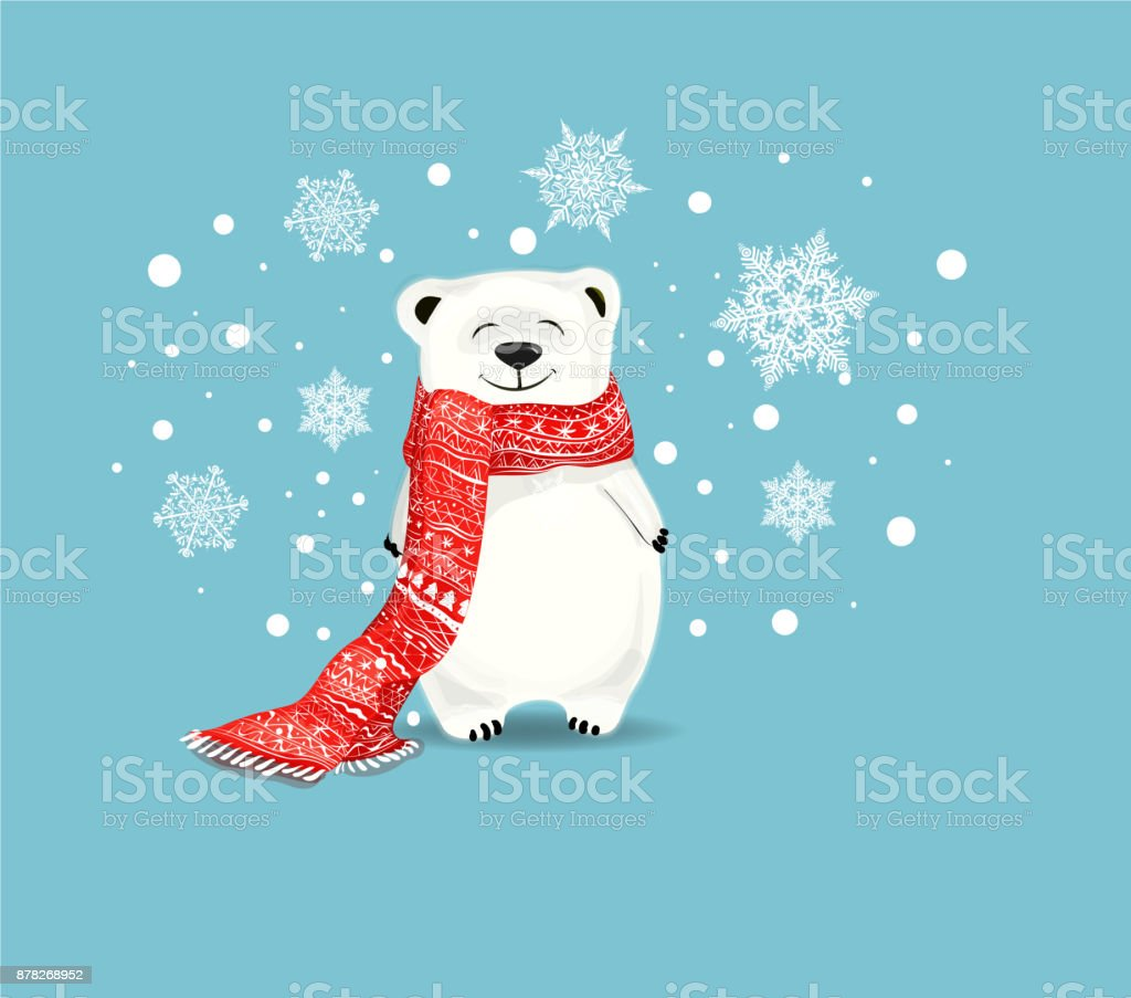 Cute little polar bear with red scarf on blue background with snowflakes. vector art illustration